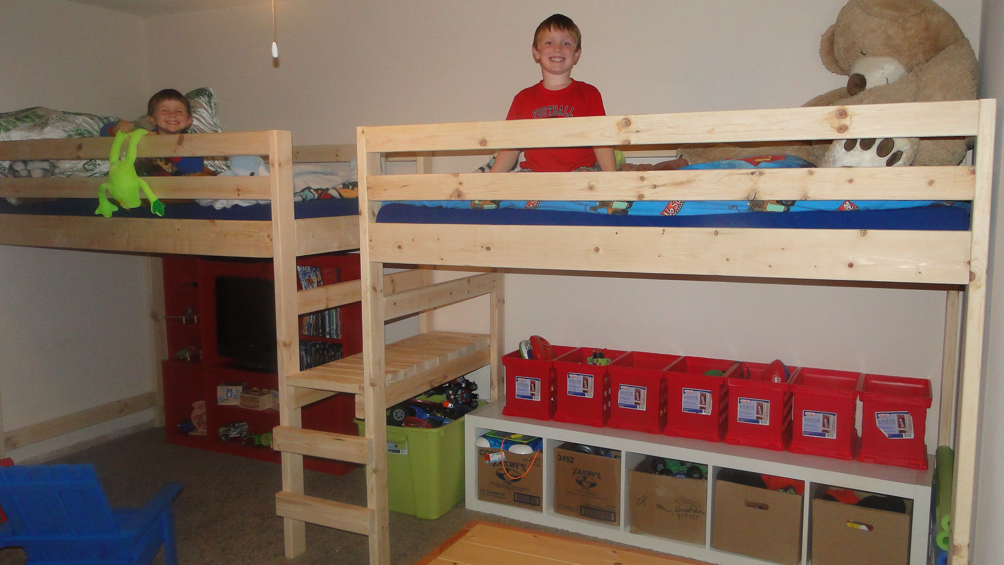 Double Loft Bed For Kids Double Twin Camp Loft Bed Boys Loft Beds Pinterest