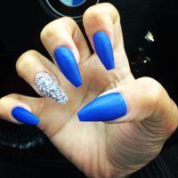 Matte blue, swarovski crystal coffin shape nails   nails ...