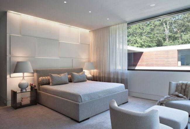 schlafzimmer ideen einrichten hell grau wand deko paneele - ideen schlafzimmer