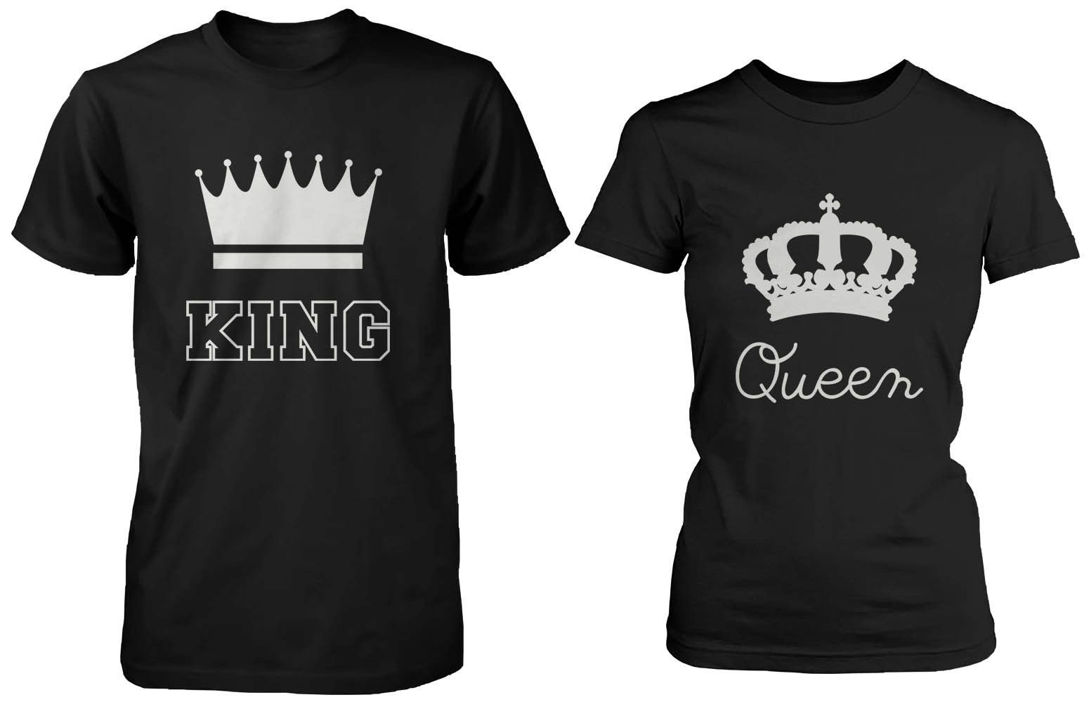Cute matching couple shirts king and queen black cotton t shirt set