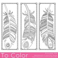 Feathers Coloring Page Bookmarks - this is a printable PDF ...
