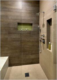 shower with dark brown tile and light floor - Google ...