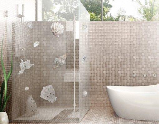 Fensterfolie - Fenstersticker NoBP24 Exotische #Muscheln - badezimmer fensterfolie