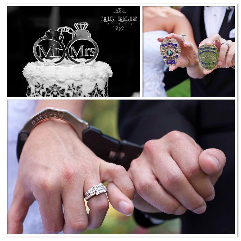 law enforcement wedding bands Police Officer wedding handcuffs badges so cute