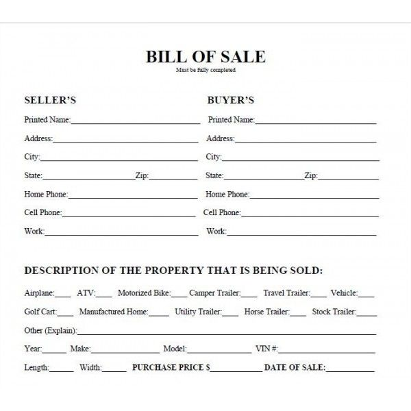 Basic Bill of Sale Form - Printable Blank Form Template Blank - bill of sale word doc