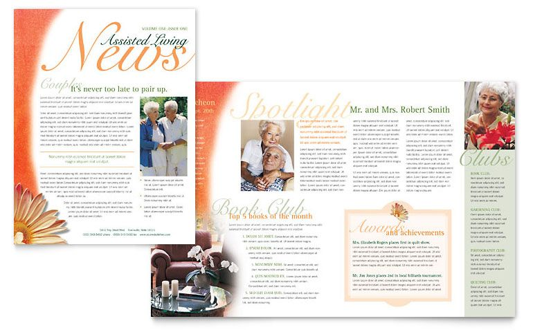 newsletter formats Assisted Living Facility Newsletter - Word - newsletter templates word free