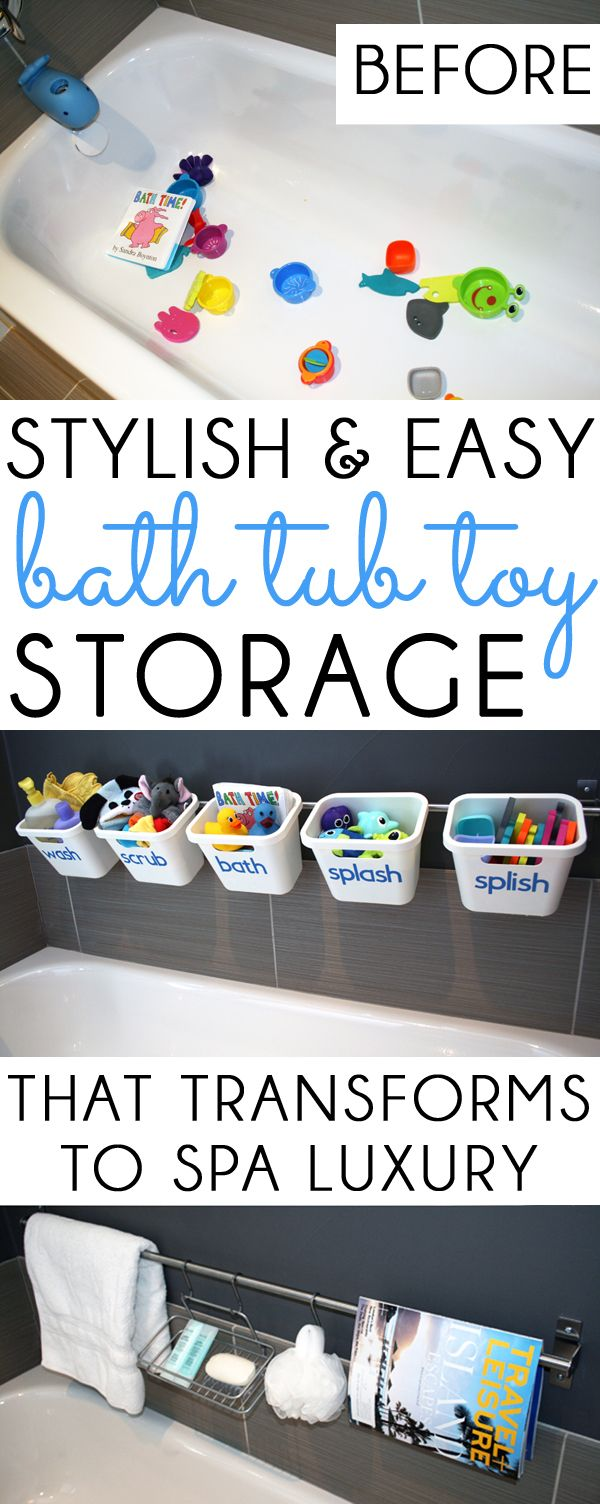 Stylish and affordable bath tub toy storage that quickly and easily transforms to spa luxury bath toy storageguest bathroomsbath