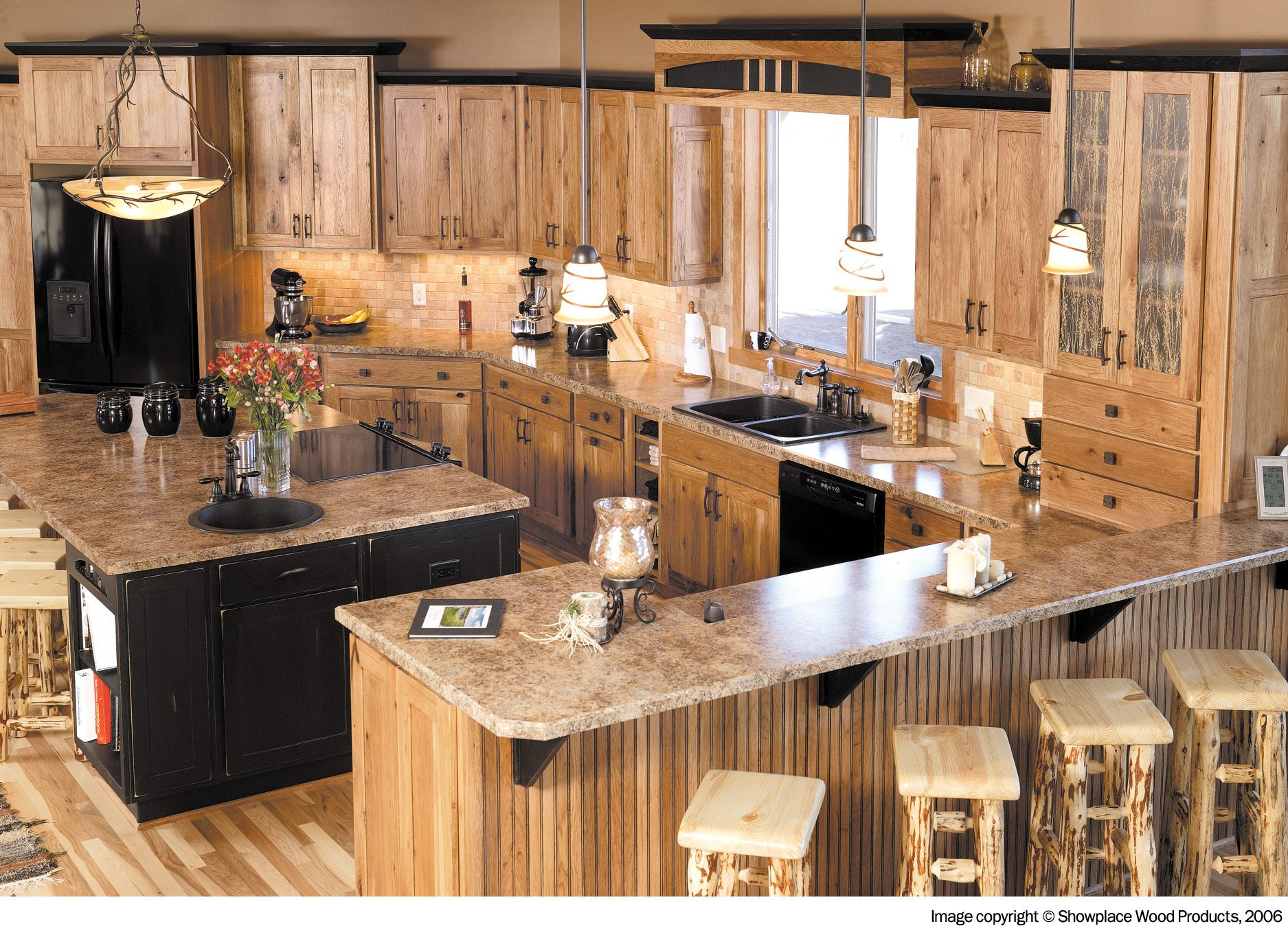 wi house kitchen rustic kitchen cabinets Rustic Kitchen For Country Kitchen Styles Brilliant Hickory Cabinets