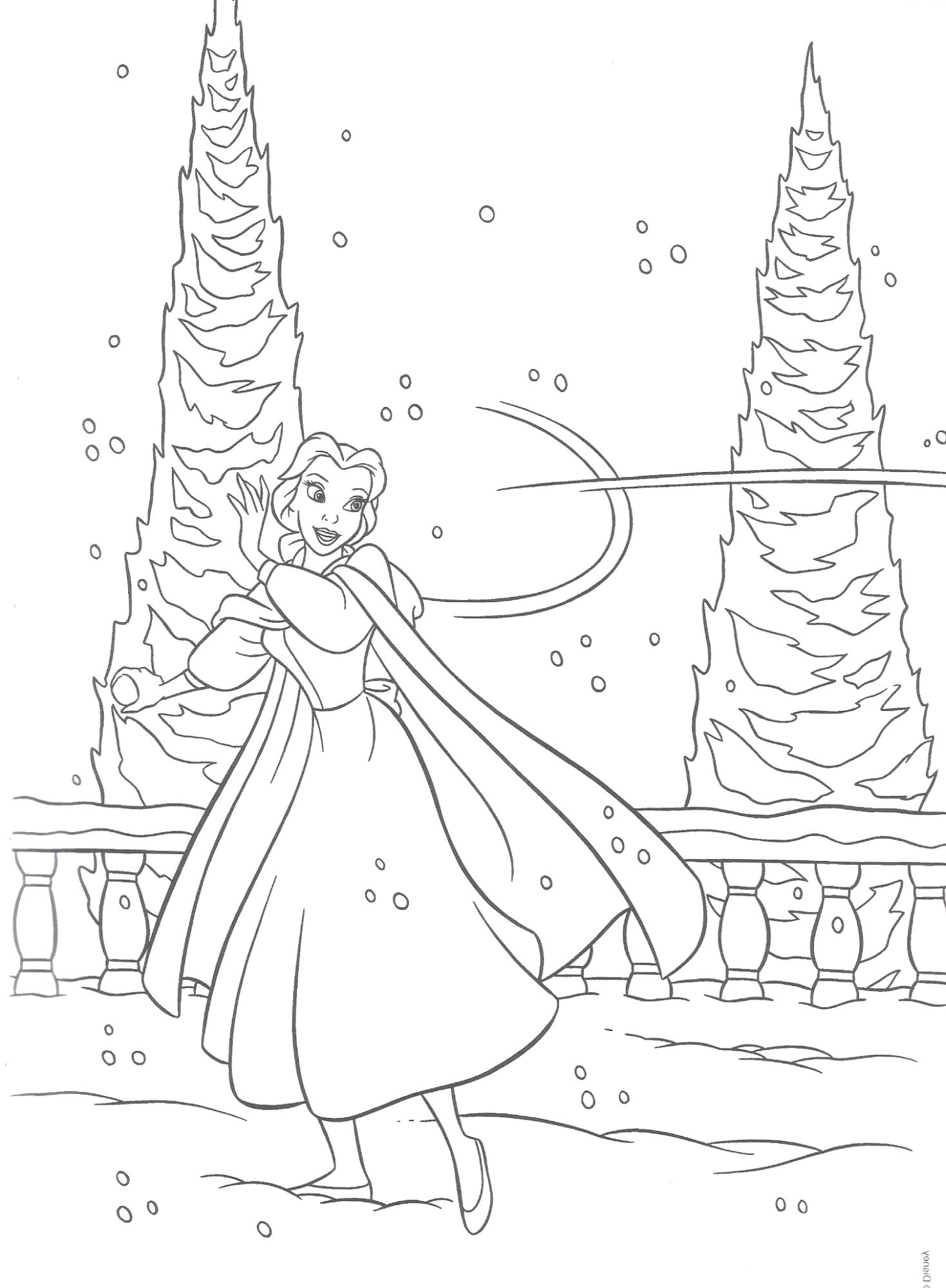 Another cute coloring page of beauty and the beast in it belle is having fun in the snow