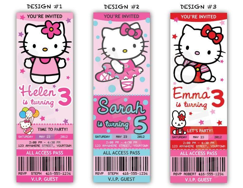 Hello Kitty Birthday Party Ticket Invitations - Printable File - printable ticket invitations