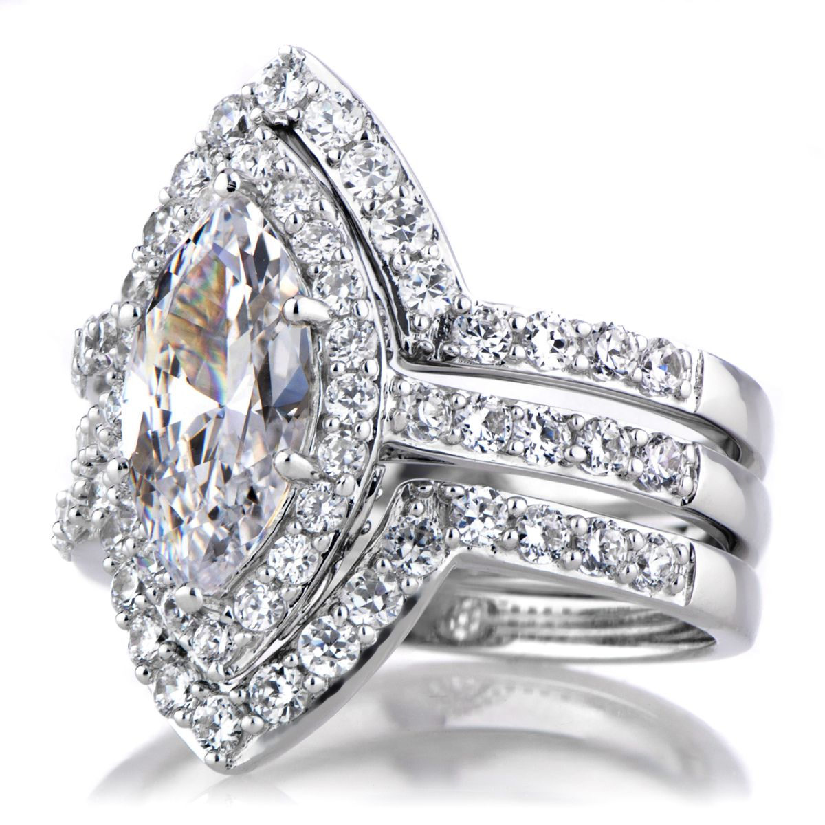 cz wedding sets Padgett s Marquise Cut CZ Wedding Ring Set Double Ring Guards