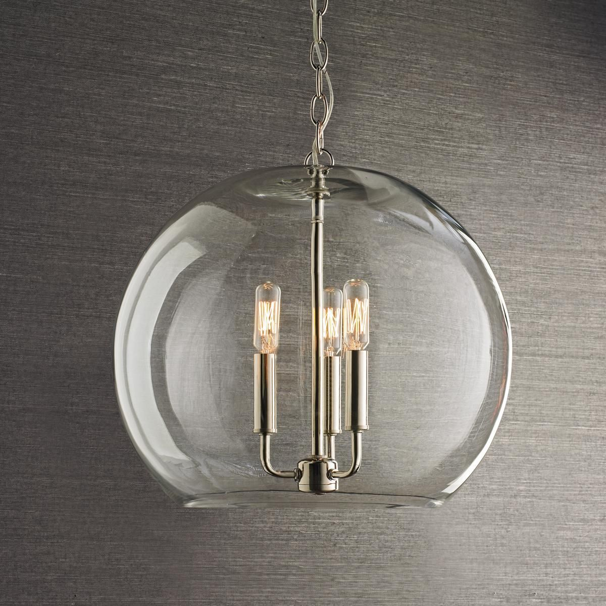 Kitchen Pendant Lighting Glass Shades 16 Quot Clear Glass Sphere Chandelier Chandeliers