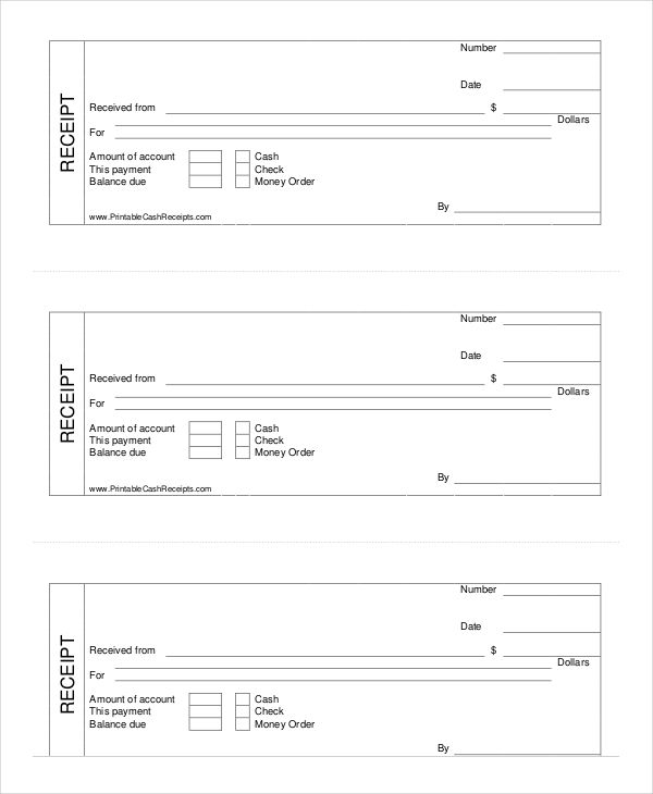 Printable Cash Receipt Template , Cash Receipt Template to Use and - cash invoice template