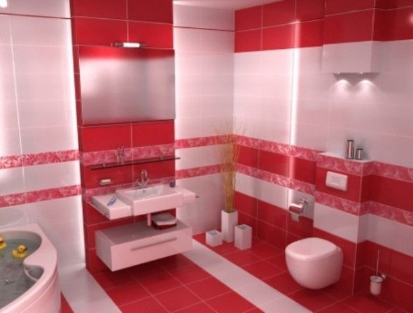 bathroom decor ideas red white Bathroom Decor Pinterest - red bathroom ideas