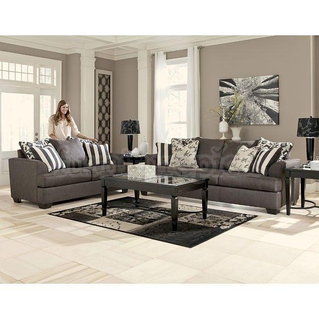 Levon Charcoal Living Room Set - Ashley Furniture Pretty , but I - gray living room furniture sets
