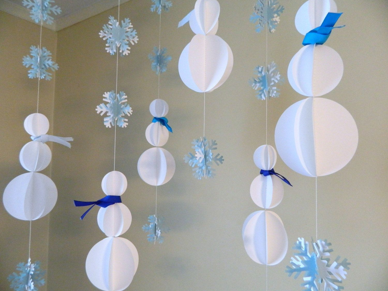 Paper Garland/3D Snowman Decoration/Holiday Window Hang