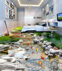 3D Fish Stone Stream Floor Decals WallPaper Murals Wall ...