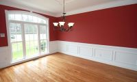 Red Dining Room Paint | White trim, Tile flooring and Room