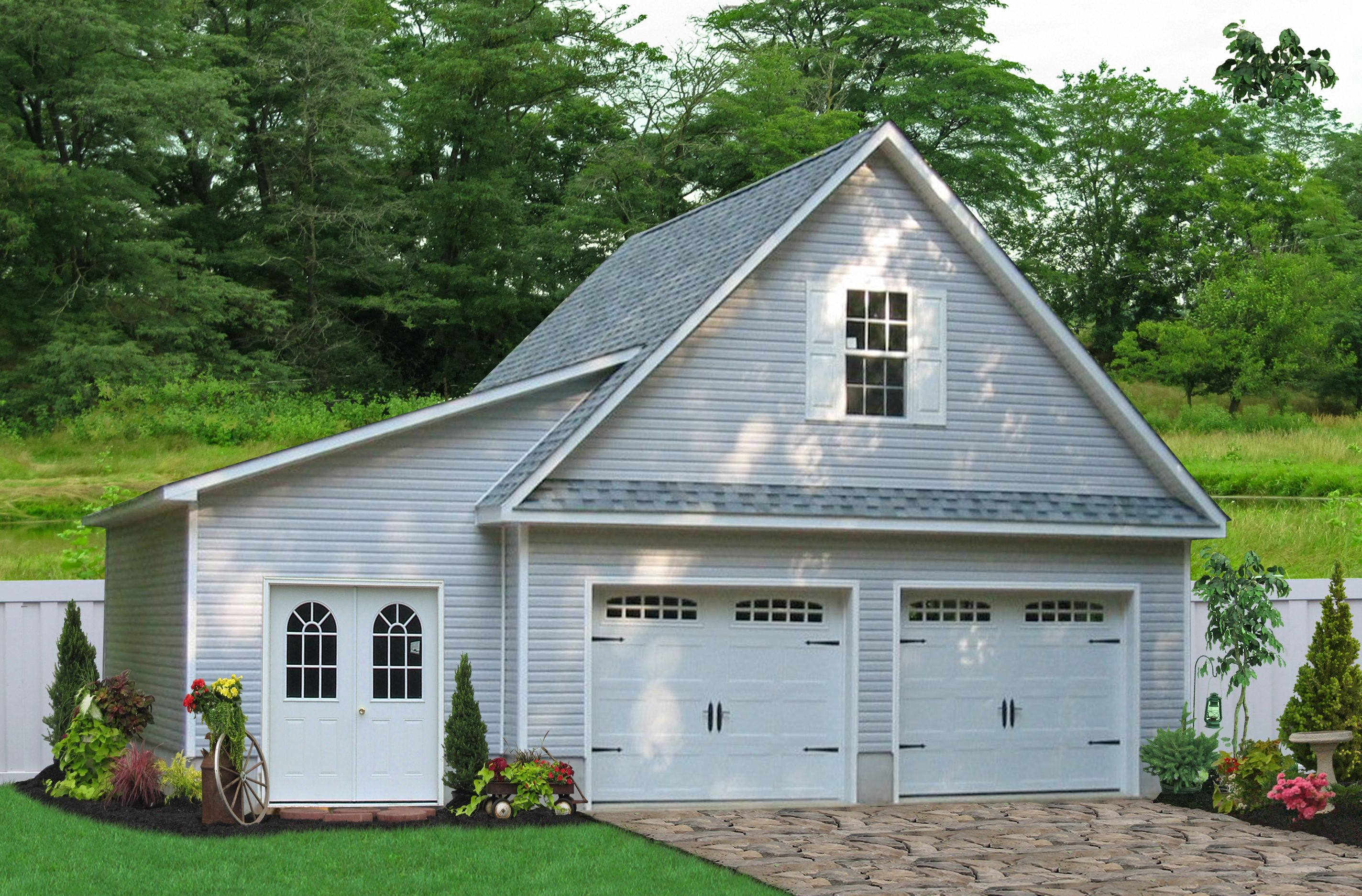Two car garage with a lean to buy this garage with a lean to from the amish in lancaster county pa this detached two car garage is prefabricated and then