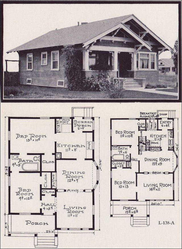 1920s Craftsman Bungalow House Plans 1920 Original Pinterest - bungalow floor plans