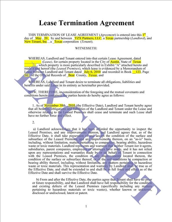 Lease Termination Agreement REALCREFORMS - termination of lease - lease termination form