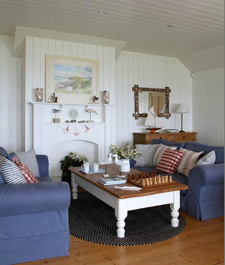 Cottage Style Living Room with Denim Blue Slipcover Sofas - beach living room furniture