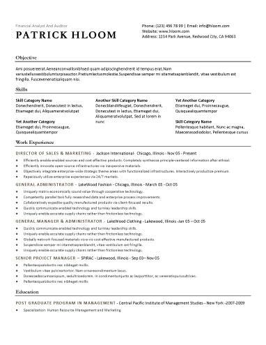 Free Resume Template Traditional template style with bulleted - financial planner resume