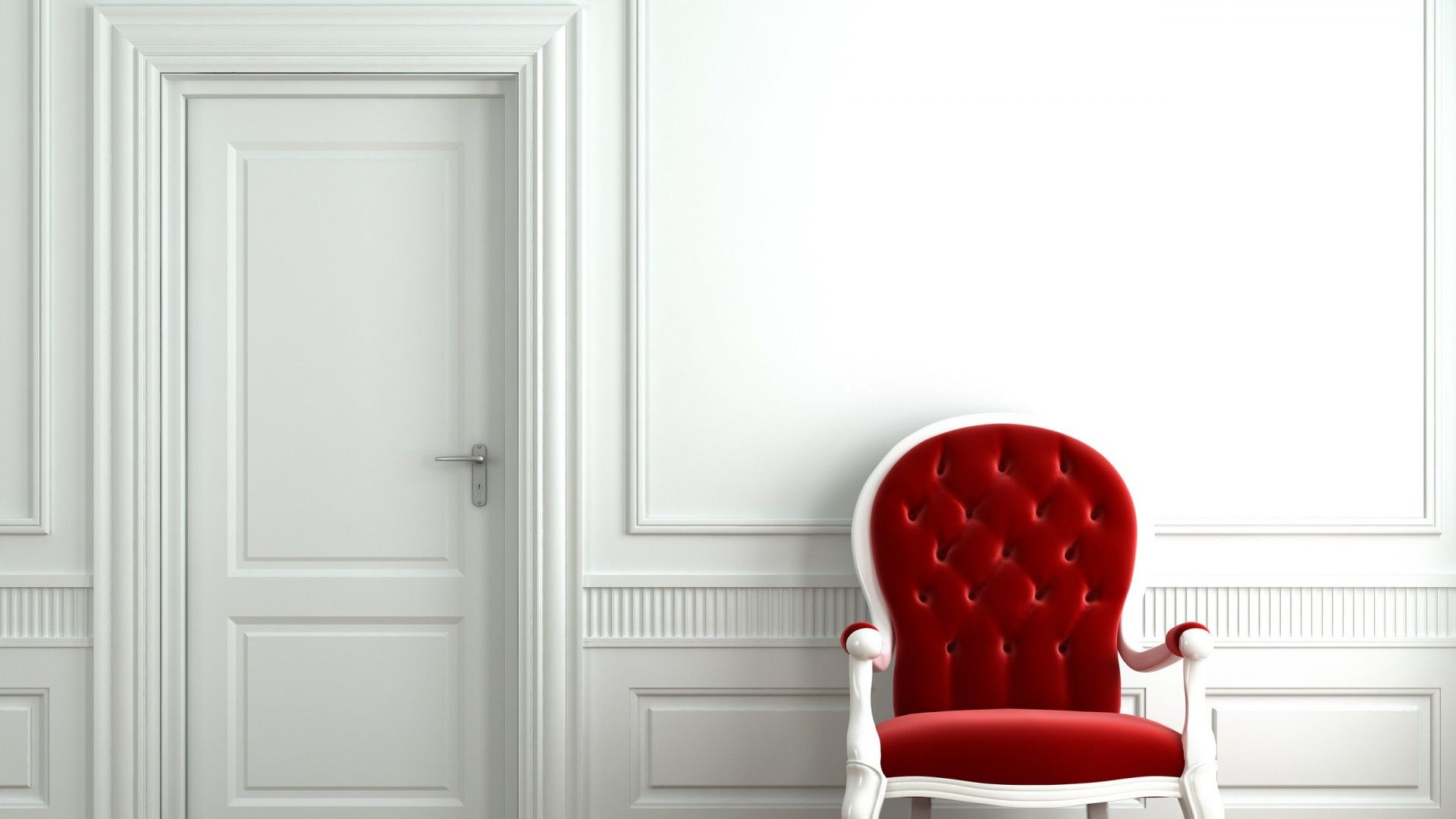 Red Chair White Room hd Wallpaperd