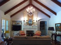Great room with cathedral ceiling, rake beams ...