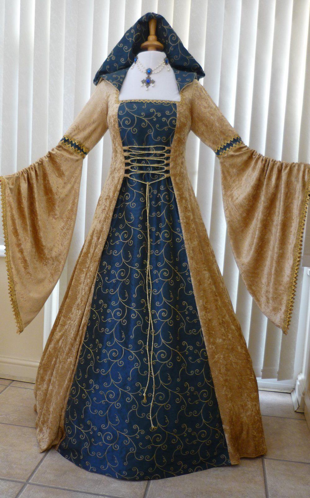 pagan wedding dresses Pagan Handfasting Dress Medieval Wedding Gown Gold Blue Dawns Medieval Dresses