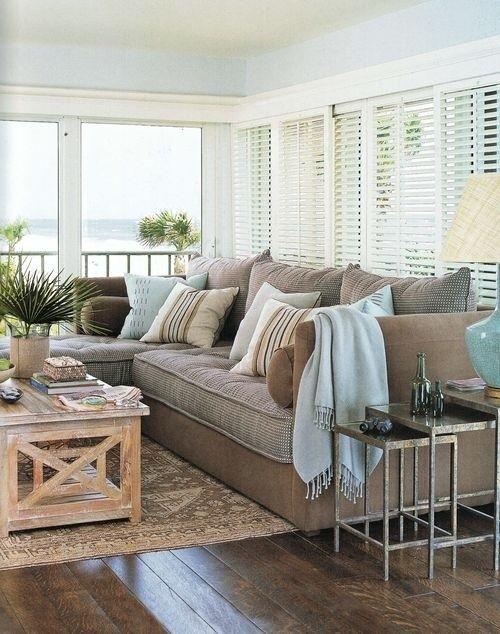 I love this coastal chic color palette with touches of aqua blue - coastal home decor
