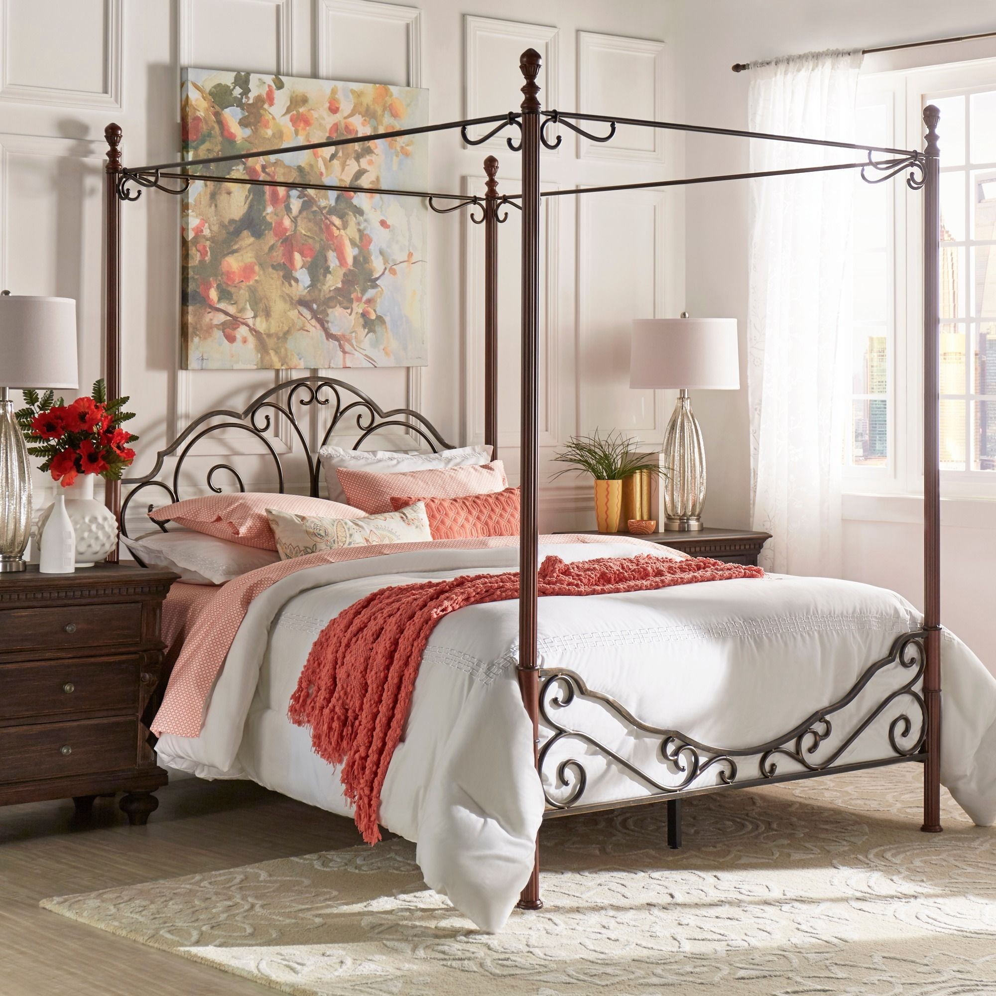 Queen Size Four Post Bed Frame Leann Graceful Scroll Iron Metal Queen Sized Canopy Poster