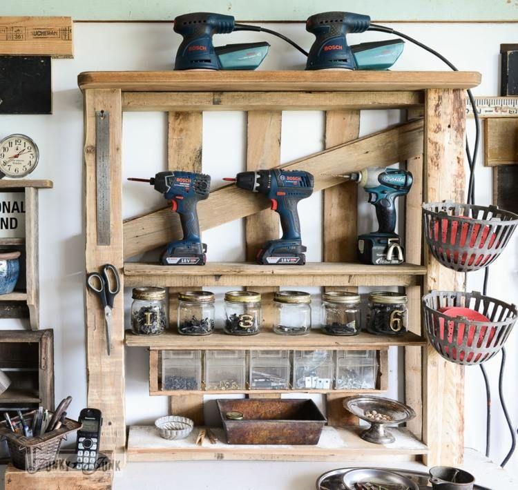 Aus Paletten ein Regal für die Werkstatt oder Garage bauen - holz mobel aus europaletten bauen