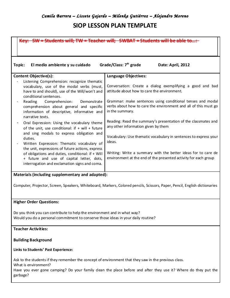 Types of Lesson Plan Templates SIOP Lesson Plan Template 3 - siop lesson plan templat