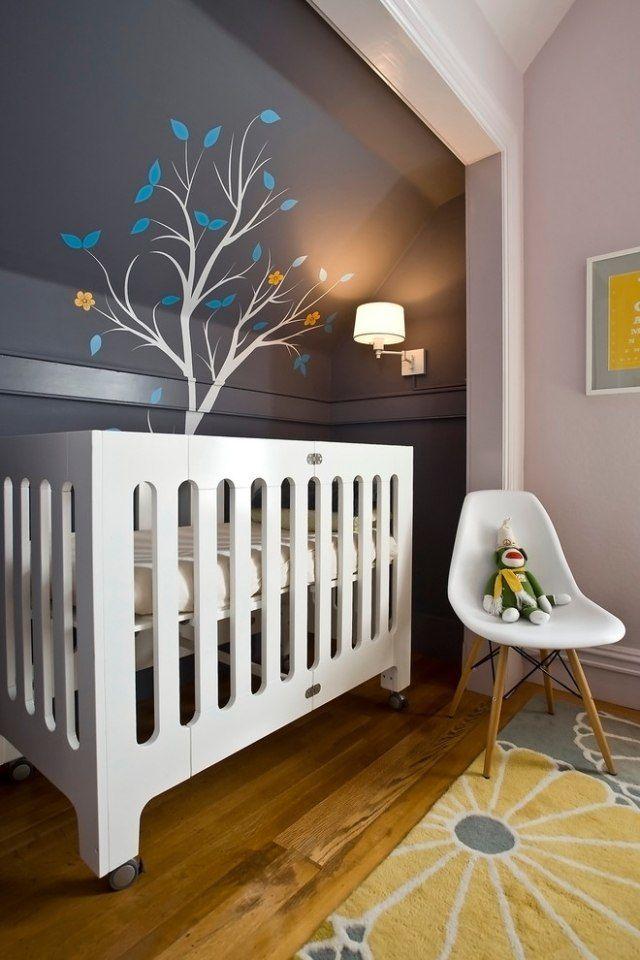 kinderzimmergestaltung farbe schablone baum dachschräge babyzimmer - dekoration farbe fur dachschragen