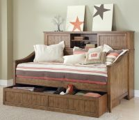Furniture. Rustic Daybed With Trundle With Wooden Material