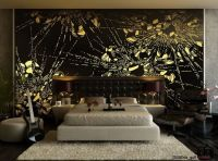 Abstract Black Yellow Wall Murals wit Luxury Bedding Sets ...