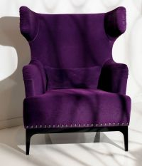 Luxe Italian Designer Lounge Chair, In Purple Upholstery ...