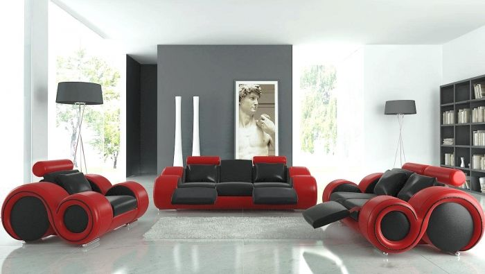 Futuristic Black and Red Furniture in Airy Living Room Living - red living room chair