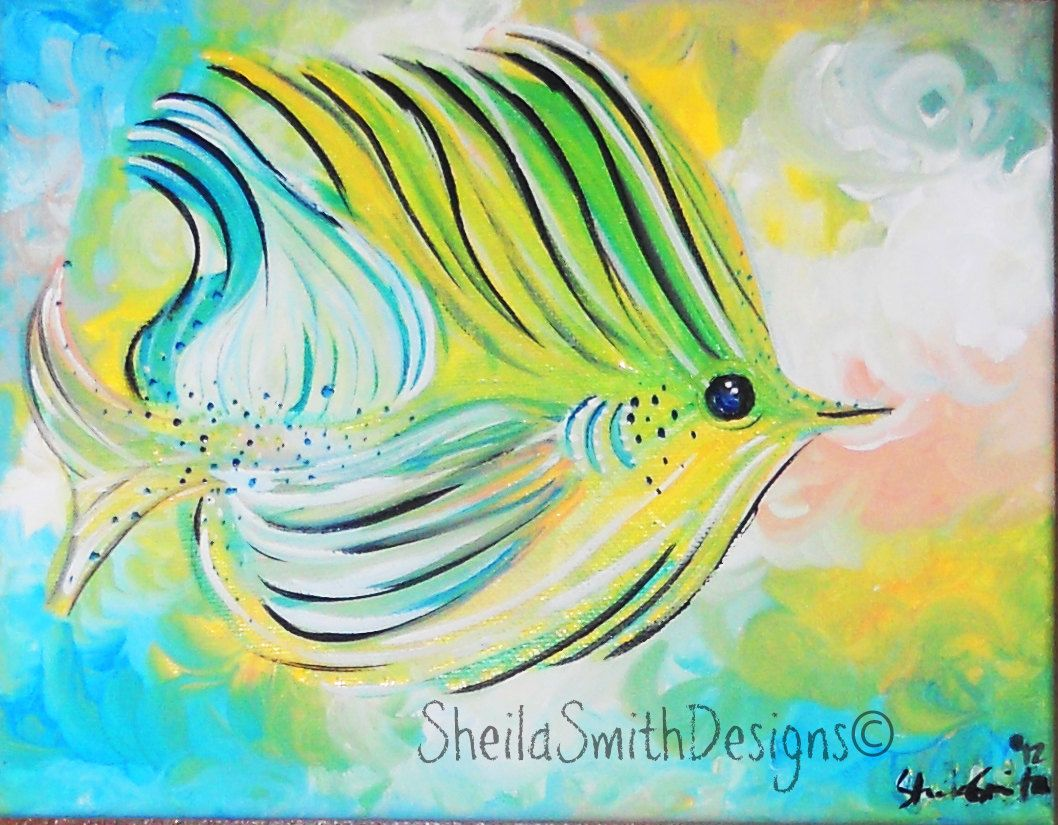 Tropical Artwork Tropical Fish Art Simple Fish Art Bright Fish Painting