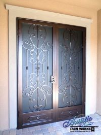 Scrolled Wrought Iron French Security Doors | Wrought Iron ...