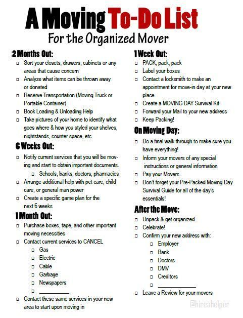 A moving to-do list for the organized mover Free printable moving - moving checklist template