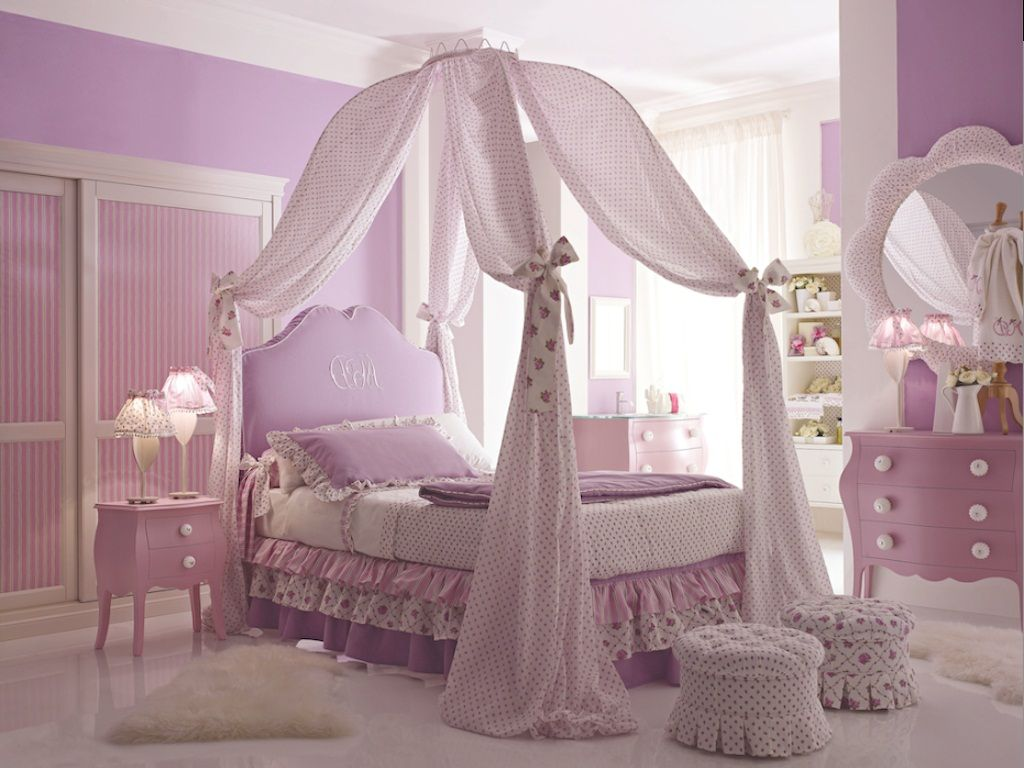Princess canopy beds for girls bedroom with purple color paint look modern kids bed jpg