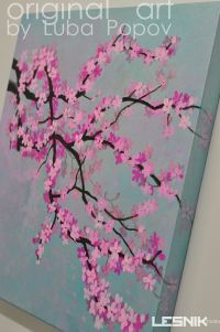 Cherry Blossom on Canvas Made to Order Custom Colors ...