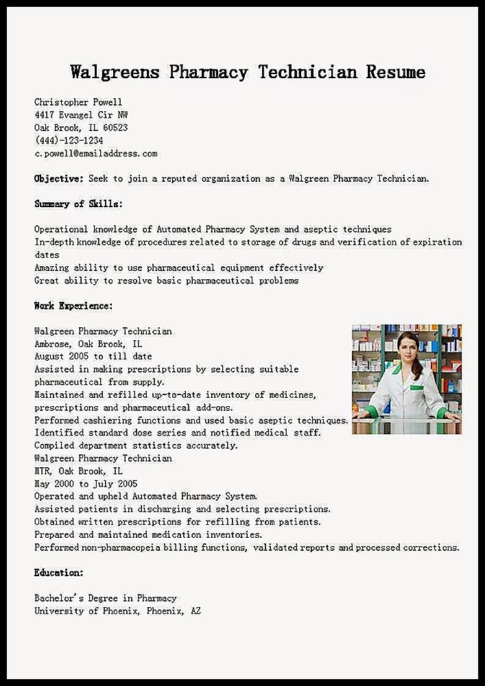 Example Resume \ Training Pharmacy Technician - http - pharmacy technician resume template