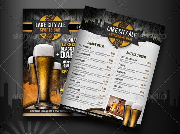 Bar Flyer Template Happy Hour Beer Bar Flyer Bar Flyer Templates - sample drink menu template