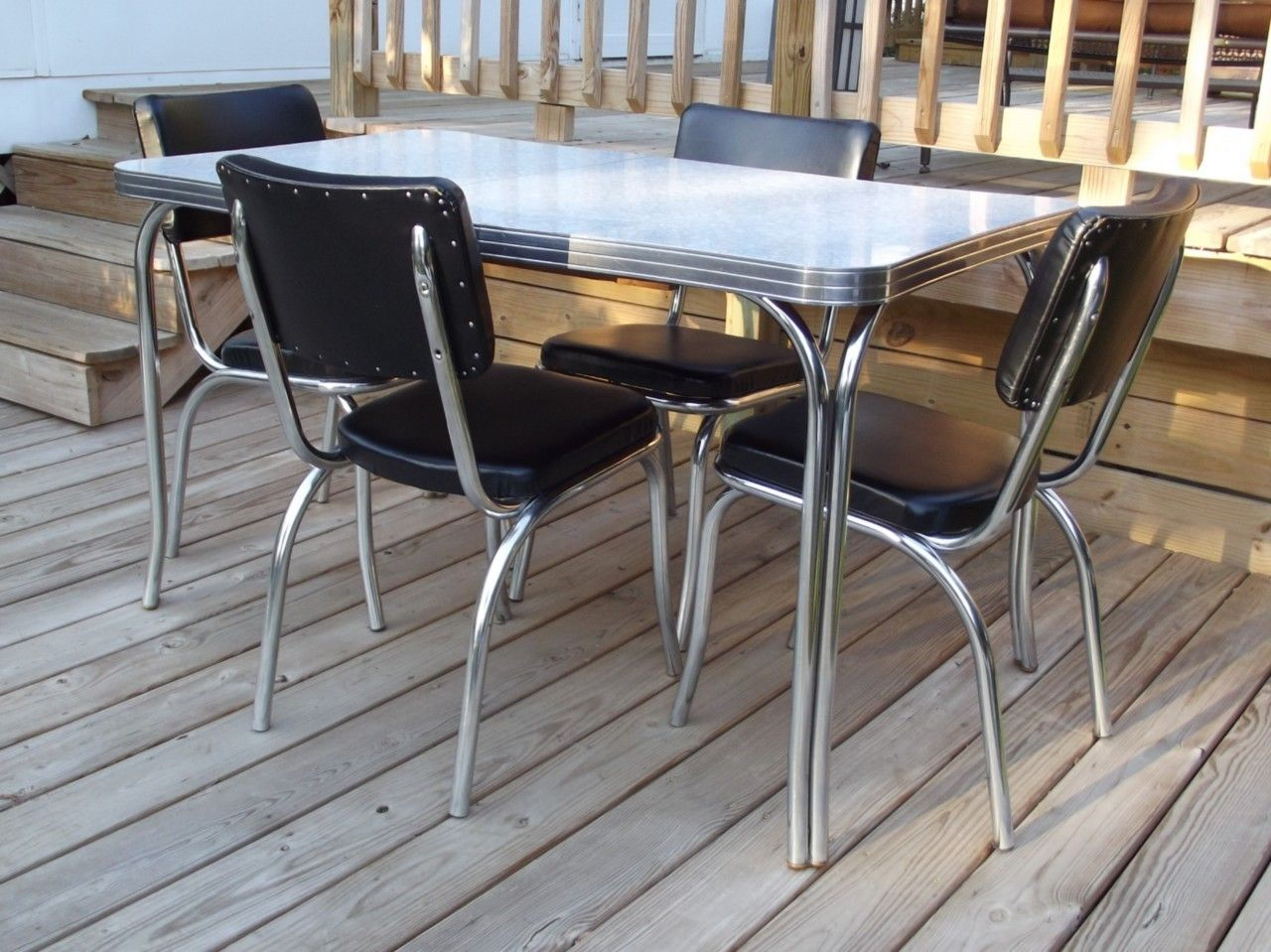formica tables vintage kitchen tables Vintage Retro s Kuehne Dining Kitchen Formica Chrome Table 4 Chairs Eames