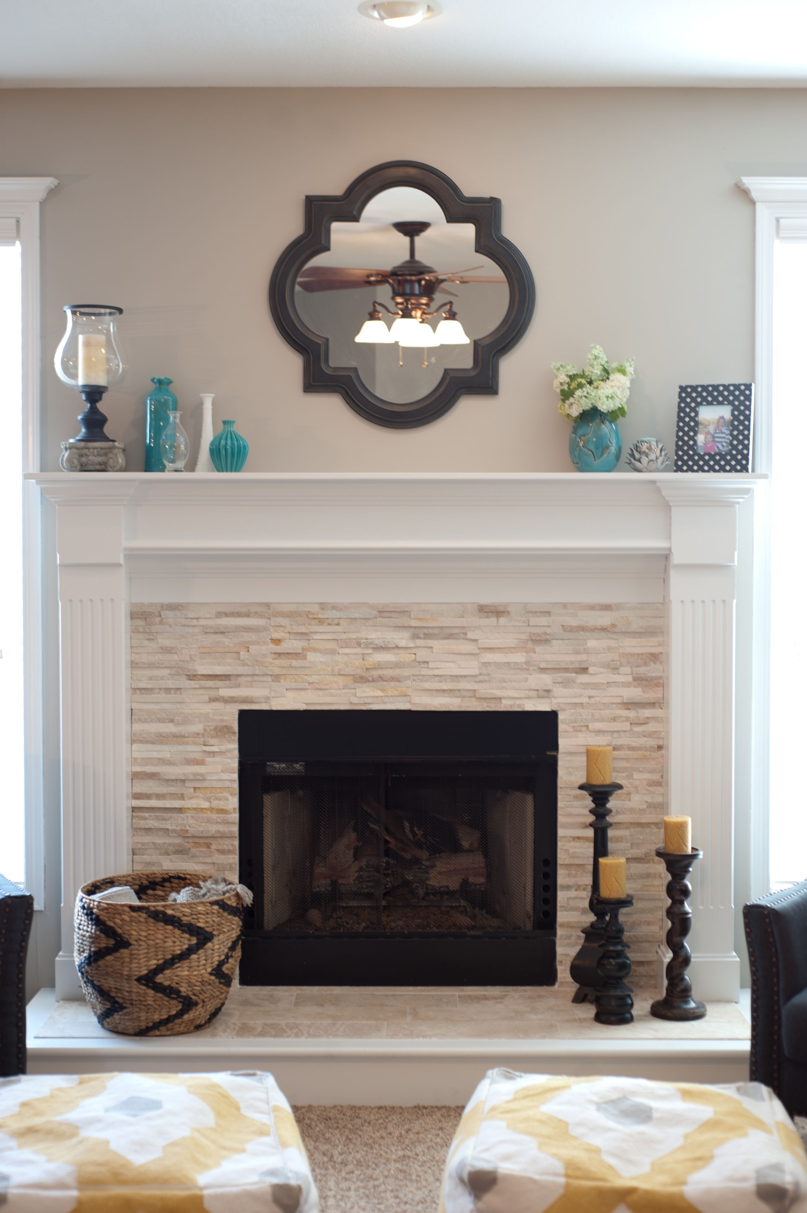 Fireplace Wall Mantels Vintage Wall Mirror Above Stone Fireplace Designs With