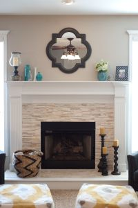 Vintage Wall Mirror Above Stone Fireplace Designs With ...