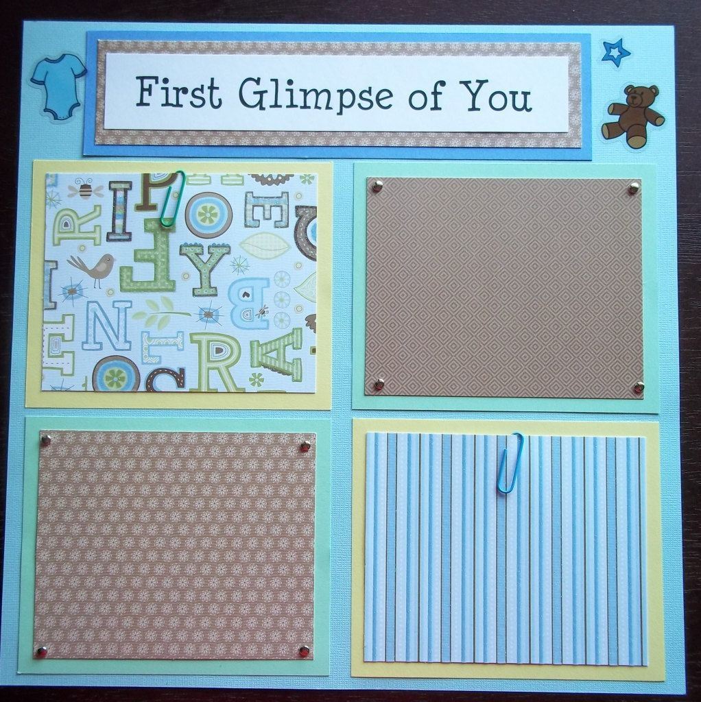 Set of 30 12x12 premade scrapbook pages baby boy s 1st 12 months made to order